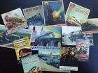BB18 -- Lot of 13 Vintage Train Poster DIE CUTS for CARD MAKING