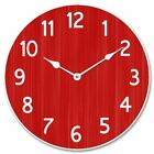 Organic Red Non Ticking Whisper Quiet wall Clock Perfect Round Home Wall Craft