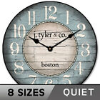 Boston Harbor Blue Wall Clock Non Ticking  Whisper Quiet Battery Operated