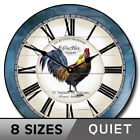 Carolina Blue Rooster Wall Clock Whisper Quiet Battery Operated Home Decor