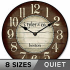 Boston Harbor Brown Non Ticking Silent Wall Clock Battery Operated