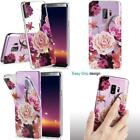 Samsung Glaxy S9 Plus Case,Pink White Floral For Women Girls Clear Bumper Slim F