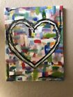 Oil panting on canvas heart love art piece- original 4 x 1