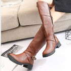 Womens High Knee Leather Boots Winter Warm Martin Shoes Casual High top Bukle