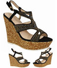 Women's Diamonted Ladies Sandals High Cork Heel Wedge Summer Holiday Girl Shoes