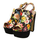 Ladies Women's Chunky Block High Heel Platform Ankle Strap Sandals Girls Shoes