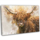 Highland Cow Watercolour Canvas Print Framed Animal Wall Art Picture .3