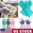 Heat Resistant Magic SakSak Reusable Cleaning Brush Scrubber Silicone Gloves