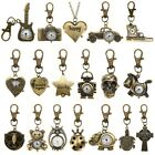 Mini Vintage Bronze Tone Key Ring Pocket Quartz Pendant Kids Unisex Watch Gifts