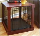 Cherry Wood Pet Dog Crate Kennel Side End Table Cage Indoor Nightstand Bedside