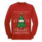 Meoowee Christmas Ugly Meowy Sweater Cat Lovers Youth Kids Long Sleeve T-Shirt