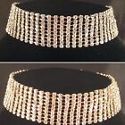 Gold/Silver Bling 9 Row Choker Necklace,bridal,bridesmaid,prom,party SV16-L009