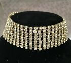 Large Diamanté Sparkly Gold Choker Necklace Party Prom Wedding Fashion Jewellery
