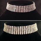 Gold/Silver Bling 7 Row Choker Necklace,bridal,bridesmaid,prom,party SV16-L-007