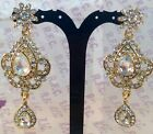 Golden Diamante Fashion Statement earrings, prom, party,bridesmaid Sv5-002g/w