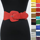 Retro 80's Mod Classy Leather Wide Elastic stretch Waist Belt Dresses Jackets
