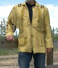 Men's Western Wear Native American Suede Leather jacket Coat Fringes and Beads
