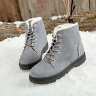 Fashion Womens Winter Snow Ankle Boots Ladies Lace Up Flat Fur Lined Shoes UK