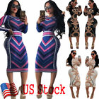 Sexy Women Long Sleeve Bodycon Casual Party Evening Cocktail Mini Dress Us Stock