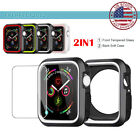 Silicone Case Cover Tempered Glass Screen Protector Apple Watch Series 4 40/44MM