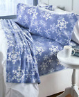 Full Size or Twin Sheets Fleece Set Winter Bedding Blue Snowflakes Snowman Dogs
