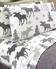 Cotton Flannel Sheets Full Queen or King Size Sets Moose Gray Grey White Winter  image