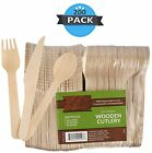 wood collection Disposable Bamboo Cutlery Set Pack Of 200 Utensils | 50 Knive...