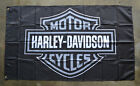 Harley Davison Flag Banner 3x5 Motorcycles Garage Man Cave Black White