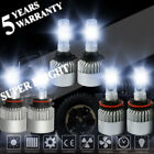 S2 H11 9006 9005 LED Headlight+Fog Light 6000W Hi/Lo Beam 6000K White Lamp US