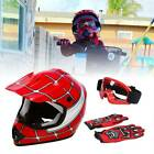 DOT Youth Kids Helmet Red Green White Blue Black Dirt Bike ATV Goggles Gloves