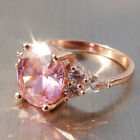 New Women Engagement Wedding Princess Ring Silver Crystal Pink Gem Rings Jewelry