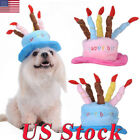 Dogs Pet Cat Birthday Caps Hat with Cake Candles Design Birthday Party Headwear