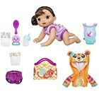 Baby Alive Baby Go Bye Bye Brunette Doll with Bonus Tiger Hoodie Outfit & Acc...