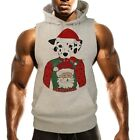 Men's Dalmatian Christmas Ugly Sweater Gray Sleeveless Vest Hoodie Xmas B1532