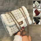Convertible Small Faux Fur Crocheted Shoulder Bag Crossbody Chain Purse Cute Bag