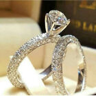 UK 925 Sterling Silver Rhinestone Ring Women Jewelry Wedding Engagement Ring Set