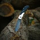 Damascus knife.    hand forged with hammered texture pocket folding knife   07''