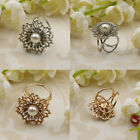 Fashion Women 3 Ring Silk Scarf Buckle Clip Holder Brooch Jewelry Rhinestone