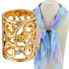 Women Ladies Cylinder Scarf Ring Silk Scarf Buckle Clip Holder Brooch Gift