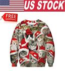 US Stock! New Christmas Kitten Kitty Cat Cute Pullover Ugly Christmas Sweater