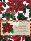 Holiday Winter Christmas Poinsettia Red Pine Cone Vinyl Flannel Back Tablecloth