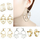 Gold Abstract Human Face Earrings Women Vintage Hollow Dangle Ear Stud Jewelry  image