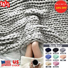 Warm Wool Chunky Thick Home Blanket Yarn Arm Knit Throw Soft Sofa Bed Blankets image