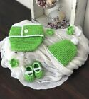 Baby 3 Pc Set Frilled Nappy Cover Beanie & Shoes Crochet 0-6m 6 Bright colours!