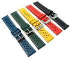 Leather Watch Strap Perforated Retro Racing Style C093 Choose Size & Colour image