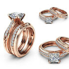 2pcs Womens Crystal Rose Gold Rings Ladies Wedding Silver Rings Jewelry Sets Uk