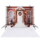 Funnytree 5X7ft Christmas House Photography Backdrop Winter Snow Door Red Pine