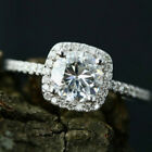 UK Women Simulation Diamond Engagement Ring Crystal Silver Wedding Rings Jewelry