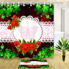 Clover and red flower butterfly Waterproof Fabric Shower Curtain & 12 Hooks 71""