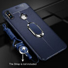 For iPhone Xs Max Leather Soft Rugged Slim Ring Stand Silicone Case Cover Shell